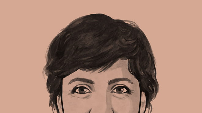 Illustrated avatar of a woman, cropped from the nose up until the top of her head - on an orange background