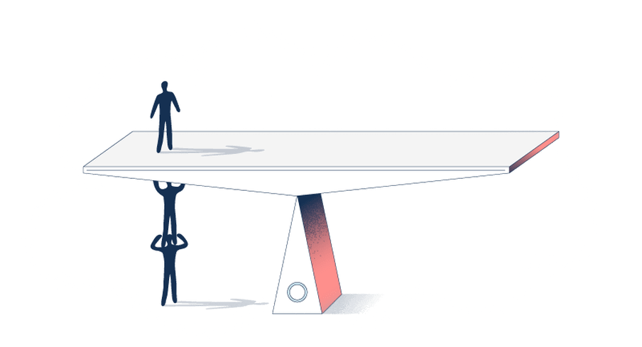 Illustration of a human-like figure standing on top of a scale, while two human-like figures hold him up so the the scale is perfectly balanced.