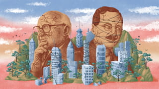 Illustration of two male faces as statues, their heads cracked and held together with string. Surrounding them are buildings, also cracked but new plants and trees are overgrowing them.