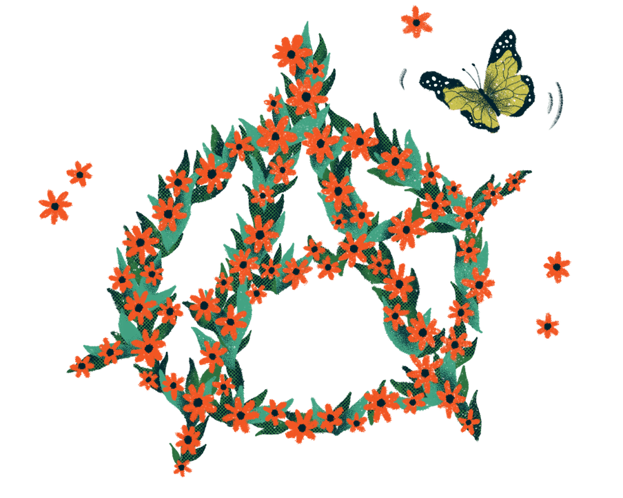 Illustration with the symbol of anarchy done with red flowers and a butterfly