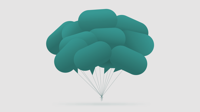 Illustration of speech bubbles tied in a bundle like balloons.