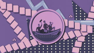 Illustration of a coin depicting a boat with three people on it. In the background we see a trail of papers on top of a purple background. The right side of the background is dark purple with dots, the left is light purple with grain.