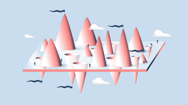 Illustration of a floating rectangle with pink cones sticking out, with black flags on top and white clouds surrounding it. There are small human-like figures standing on top of it.