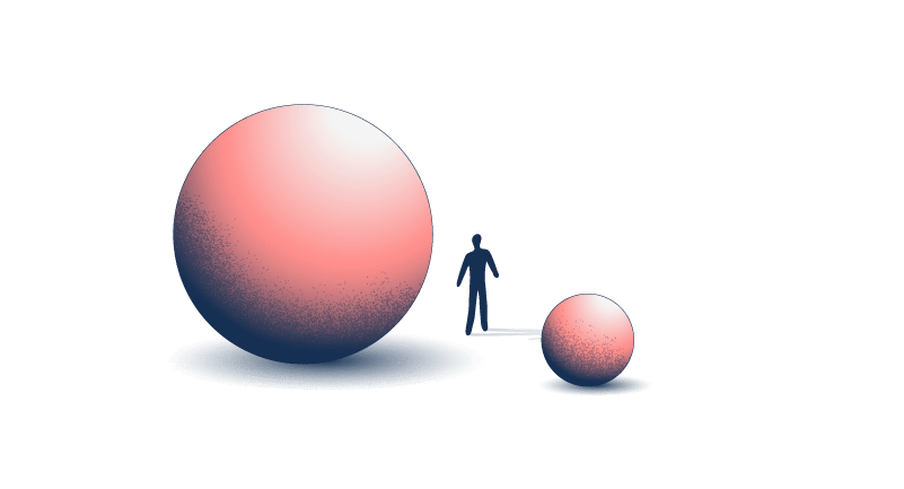 Illustration of a small and a big pink ball with a human-like figure in the middle.