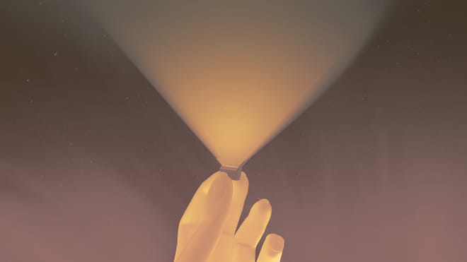 Purple background with a bright yellow hand holding open a box with a flood of yellow light in a triangle upwards