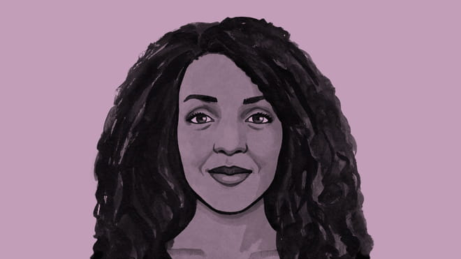 Hand drawn illustration of a woman with long wavy hair, smiling - Nesrine Malik - against a purple background.