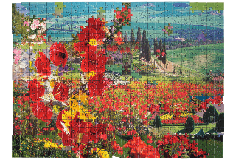 Photo of a puzzle, combining pieces from different types of images together to create new landscape. Here a picture of a bouquet of flowers is combined with a photo of a lush, green garden.