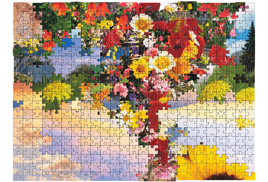 Photo of a puzzle, combining pieces from different types of images together to create new landscape. Here a picture of a bouquet of flowers is combined with a pictures of a purple and pink sky.
