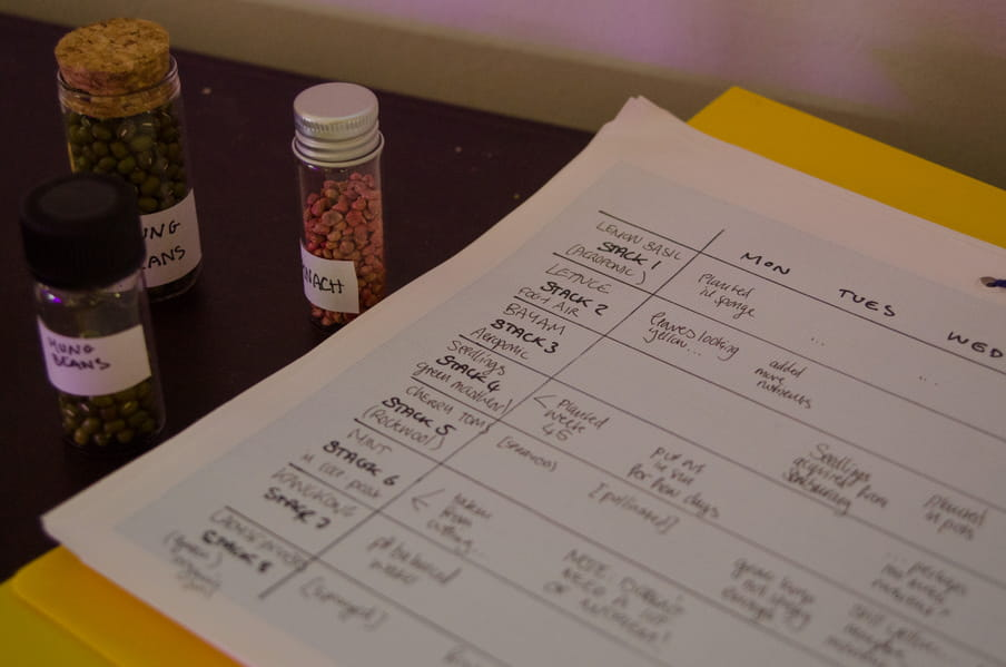 Photo of a counter top showing clean dishes and a ration card