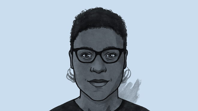 Hand drawn illustration of a woman with short hair, glasses and earrings - Eliza Anyangwe - against a blue background.