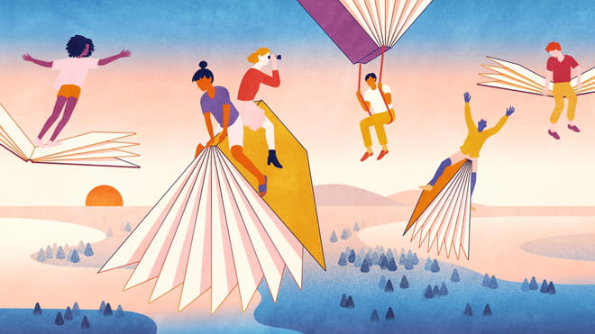 Colourful illustration with tones of blue, pink and mustard yellow showing people flying on books.