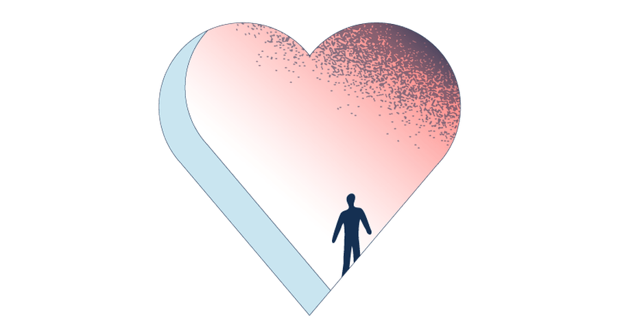 Light blue and pinkish illustration of a heart-shaped hole, with a human-like figure standing on the other side of the hole.