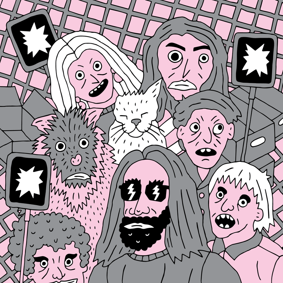 Illustration of human figures's faces in pink and black