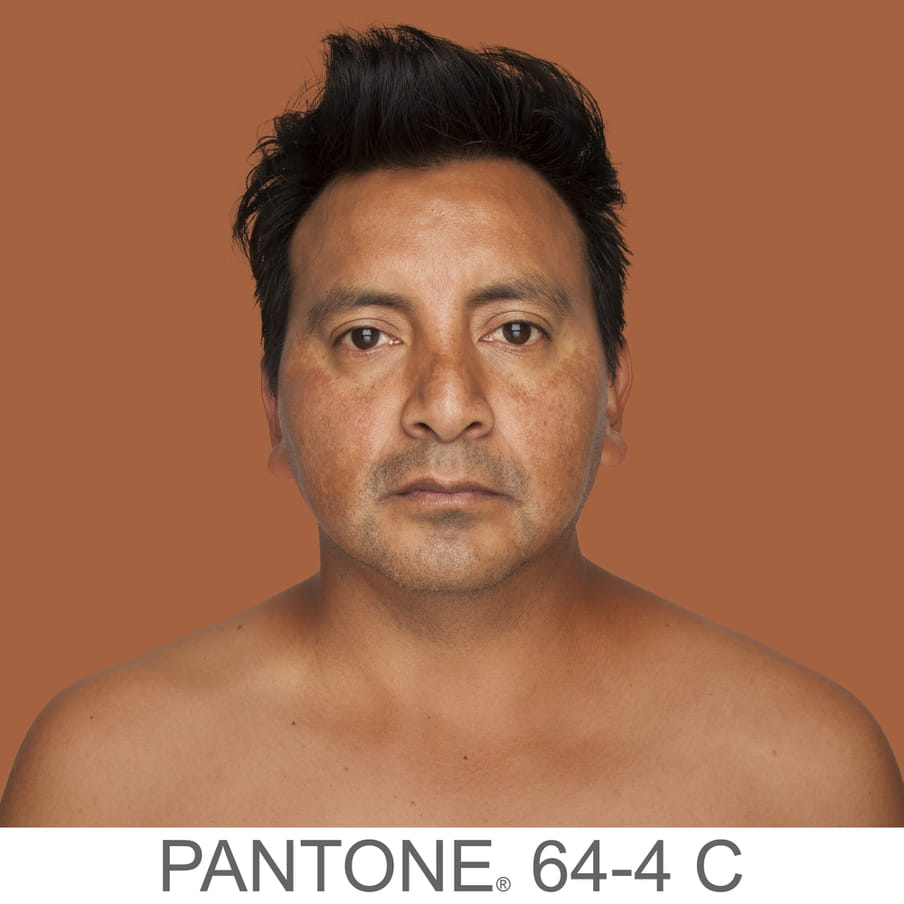 Photographic portrait of a man with short dark hair and a stubble beard. The background is a sample of 11 x 11 pixels taken from the nose of the subject and matched with the industrial pallet Pantone®. The pantone color is written out as PANTONE 64-4C.
