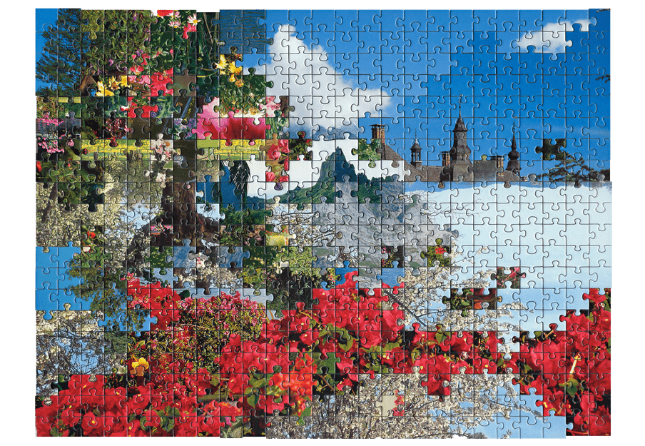Photo of a puzzle, combining pieces from different types of images together to create new landscape. Here a flowery landscape is combined with a picture of a castle.
