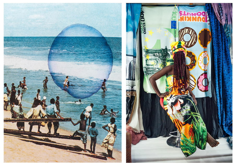 Two photos side by side. On the left, a sea shore with figures standing on it, mostly clothes, carrying beams. In the water are some heading out to swim. On the right, a figure sits in a long nature themed strapless dress against hanging towels, on green one of a 100 euro note and the other of a dunkin' donuts brand, with donuts on it