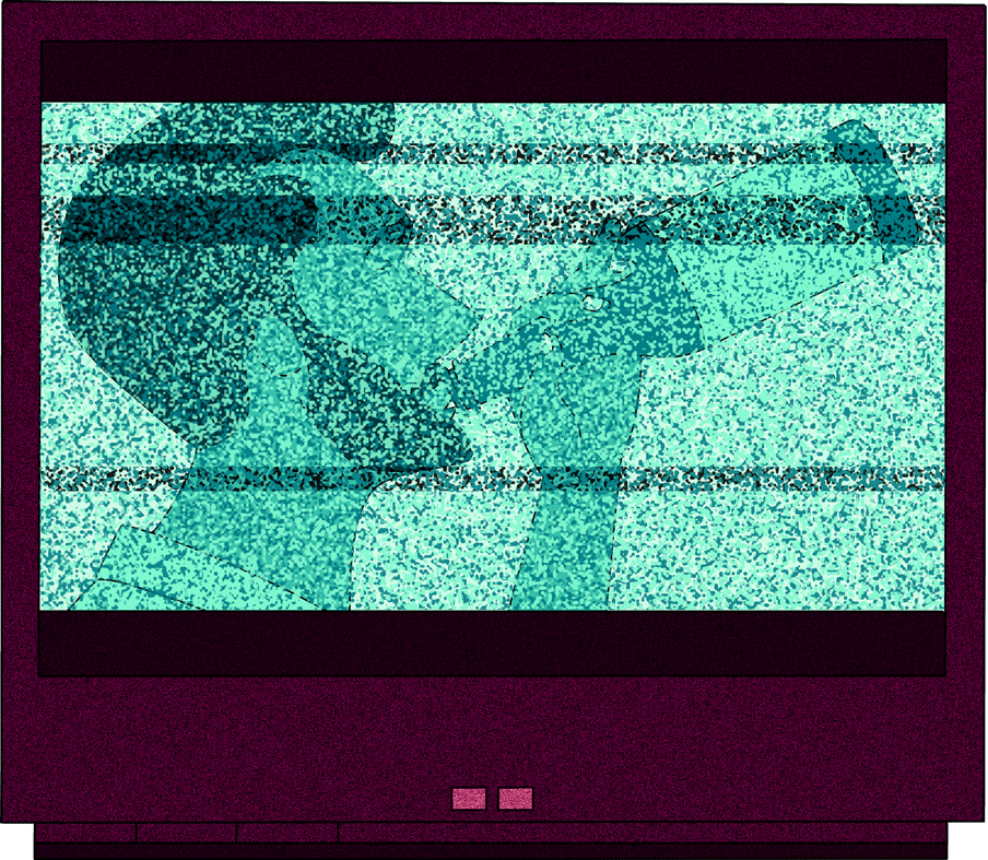 Illustration of a distorted tv, showing an add for a drink