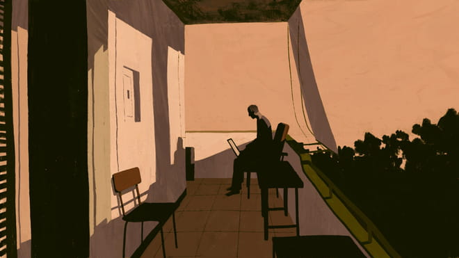 Illustration in peachy tones of a man with a laptop sitting on a balcony.