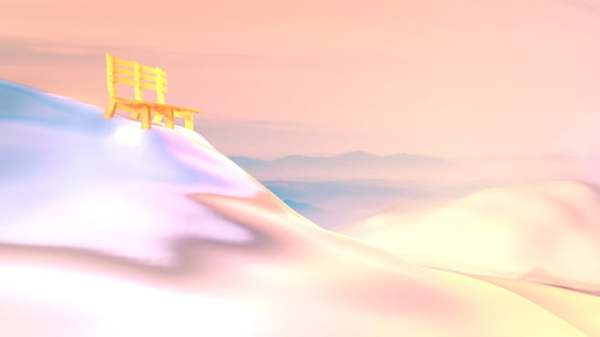 Illustration of a snowy mountain peak with a lower peak, covered in snow, against a pink sky, and with a yellow bench on top of the peak