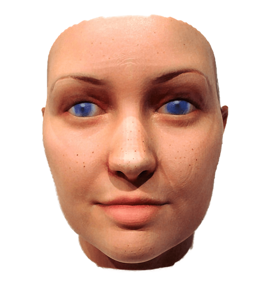 Photo of a 3D printed face of a woman with white skin, freckles and blue eye colour - against a white background