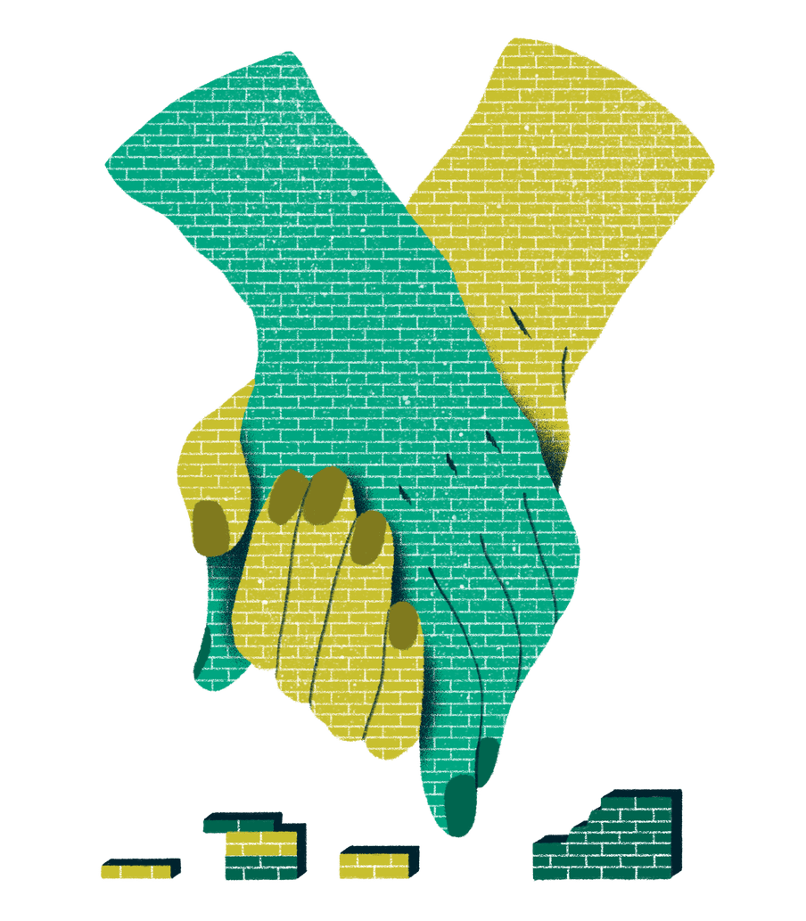 Illustration with two hands holding each other and breaking a wall.