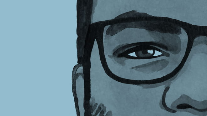 A cross section of an illustration of the author's face against a blue background