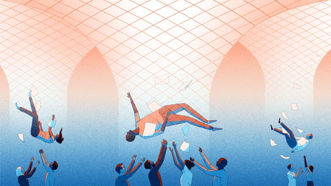 Illustration of three people falling from the sky trough nets, surrounding by paper. People underneath them have their hands up, either catching them or trowing them back up. The top of the background is orange with a gradient into blue at the bottom.