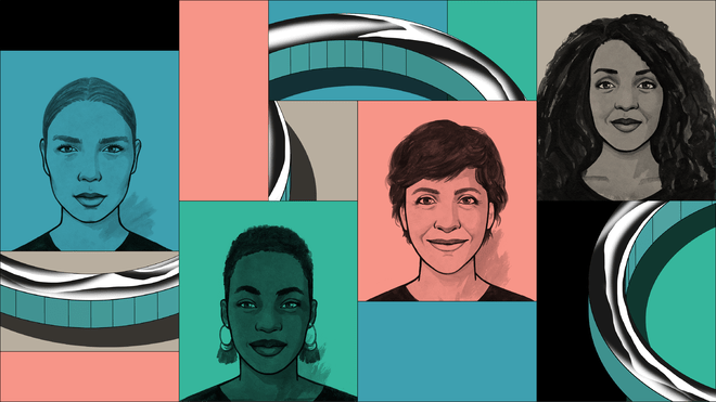 Hand-drawn headshot avatars of four women smiling, in a collage of pink, green and blue rectangles