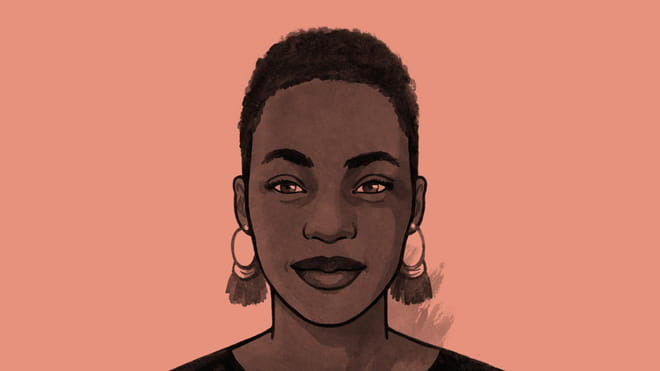 Hand drawn illustration of a womans face with large earrings, on a orange background.
