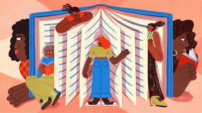 Illustration of an open book propped up with pages acting as dividers, and different figures standing in them, from left to right: climbing out of a page, up top climbing out of a page, in the middle standing facing the page, to the right peering out from the page. They are colourful characters in limes, blues and oranges. On either side of the open book are two side profiles of faces with long wavy hair or earrings and lipstick, with big hands peeping out or holding a book