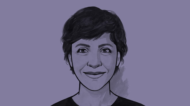 Hand drawn illustration of a woman with short hair, smiling: Irene Caselli