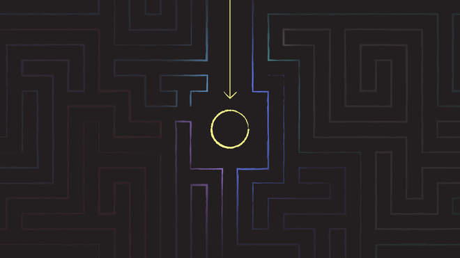 Illustration of a maze, with a circle in the middle
