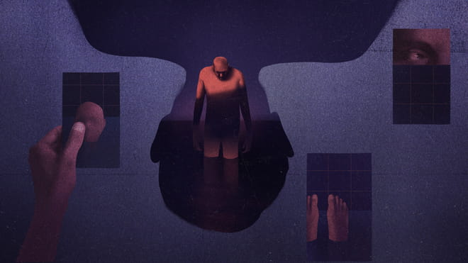 An abstract illustration in dark purples. In the centre is a man standing in a pool of dark water, head bowed. The shape around him is an upside down head. To his left is a hand holding a card with a face on it, and on the right an eye, and feet in a bathtub.