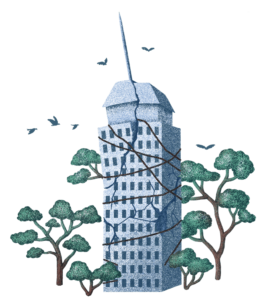 Illustration of a building with cracks and rope holding it together
