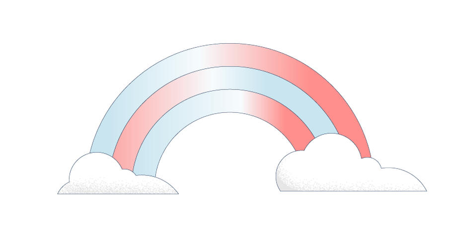 Illustration of a pink and blue rainbow coming out of two white clouds.