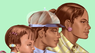 Illustration depicting three side profiles of women going from small to big, looking towards the right sight of the frame against a green background. The child wears small braids with colourful yellow and blue pastel beads. The head in the middle is wearing a see-through cap and blue buttoned-up shirt. The largest head has a pink earring and wears yellow and white stripy shirt.