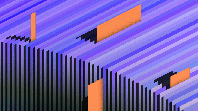 Illustration of a purple papers in a row, with orange bookmarks sticking out