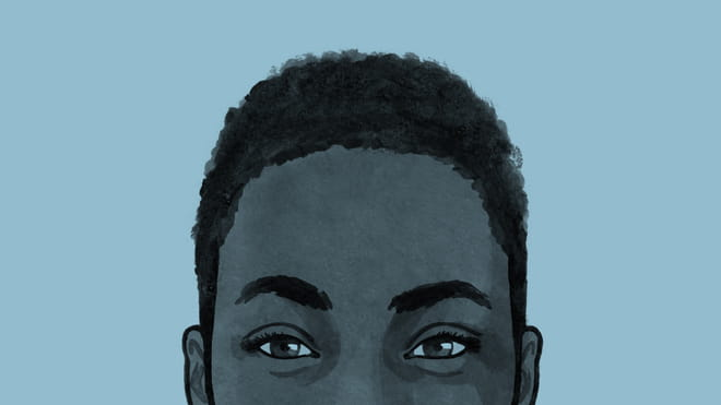 Illustrated avatar of the top of a womans head, from her ears up - on a blue background.