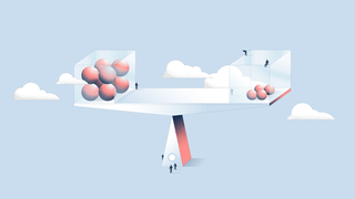 Illustration human-like figures on and around a scale with on one side four small balls and on the other side eight large balls. The scale is perfectly balanced in front of a blue background with clouds surrounding it.
