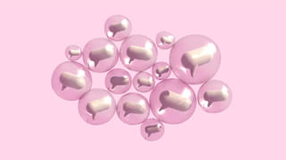 Pink background, animation of clusters of 3D looking off-white speech bubbles in pink transparent bubbles