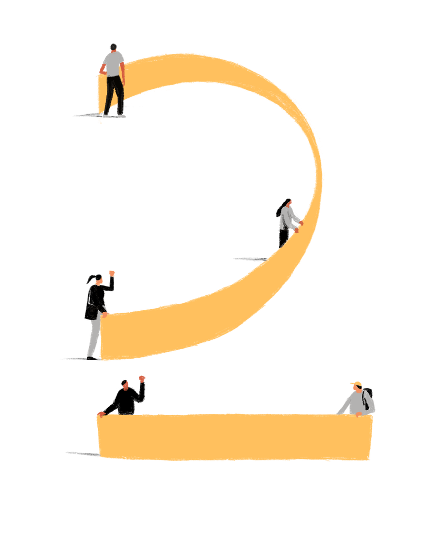Illustration of people holding yellow banners, together forming the shape of the number 2