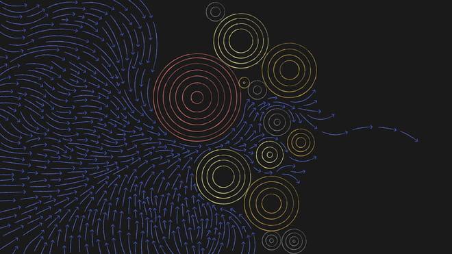 Illustration of yellow and orange circles with blue arrows passing around it, symbolising EU money streams