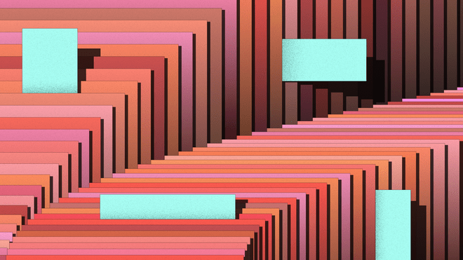 Graphic; Illustration of an abstract stack of papers in different shades of orange, brown and pink that are aligned in the shape of an arch with small aqua blue notes that stick out
