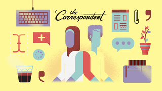 Illustration of two humans with no faces, back to back, placed against a yellow background, with a black 'The Correspondent' logo between them. She wears white, has purple skin and wears a dark red hijab. He wears yellow, has blue skin and has a lock of hair falling across his forehead. Dotted around them are designs of objects referring to writing a story, such as a cup of coffee, a comma, a keyboard, a paperclip, a potted plant, a speech bubble indicating someone is typing, and a text bubble.