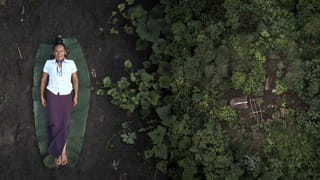 On the left, a photo of a woman lying on the ground. On the right, an aereal photo a forest