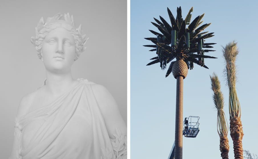 Two pictures side by side: one of a white statue in a toga and with a crown on the head, against a grey background, alongside a photo of a manmade-looking palm tree with a person under it in a crane, and two tree tips alongside, set against a light blue sky
