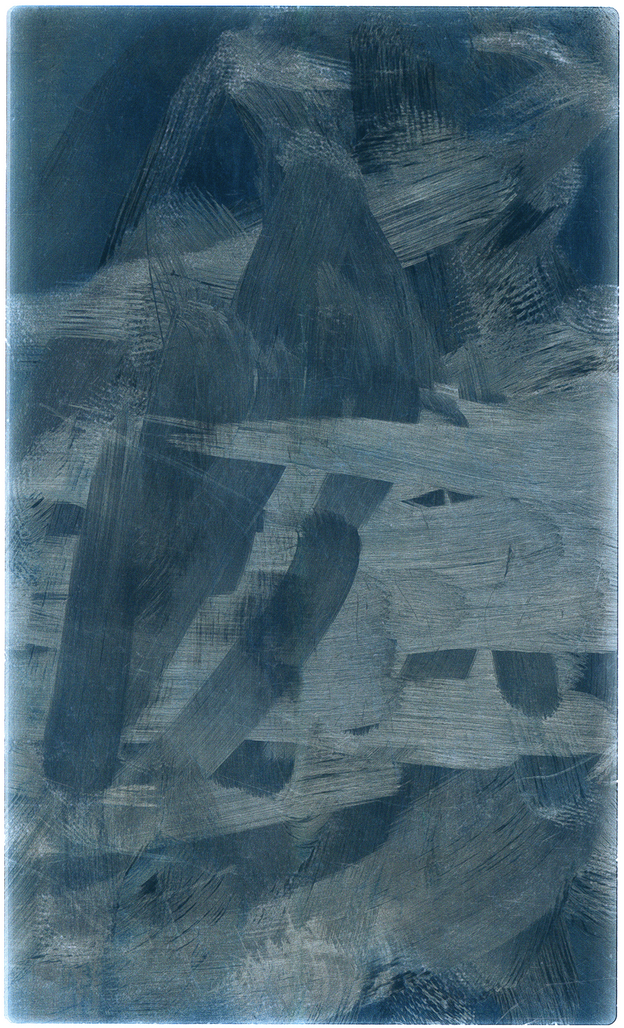 Shades of white and different blues on a shiny surface of fingerprints and swipes going in every direction; the surface of a phone looks here like an abstract painting