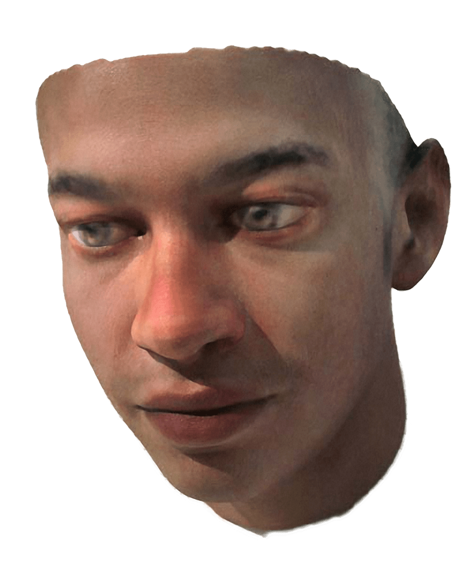 Photo of a 3D printed face of a man with dark skin color and brown eyes. It starts at the neck and end at the top of the head, containing ears but no hair - on a white background.