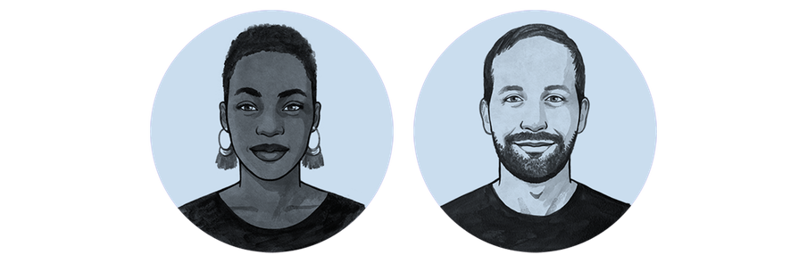 Hand drawn illustration of a woman, OluTimehin, and a man, Eric.