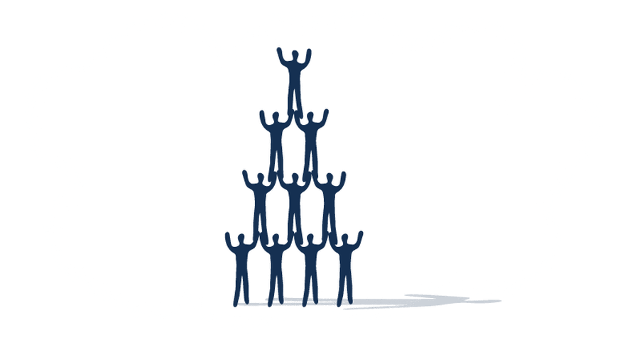 Illustration of a pyramid of human-like figures with their hands in the air.